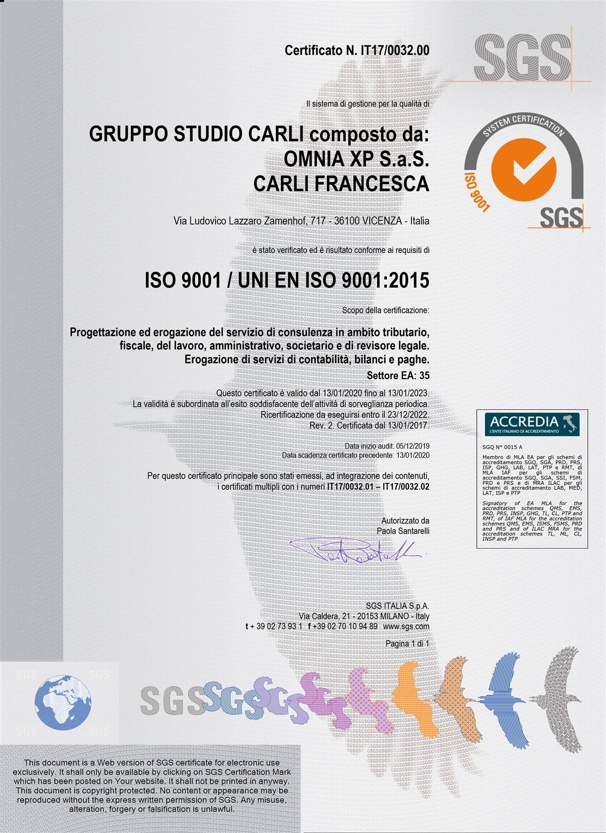 Certificato qualità SGS N IT17003200