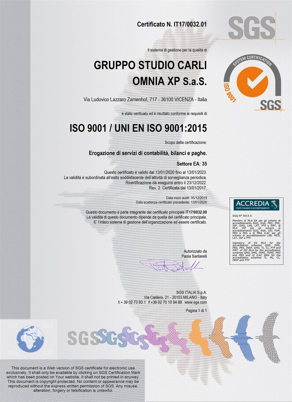 Certificato qualità SGS N IT17003201